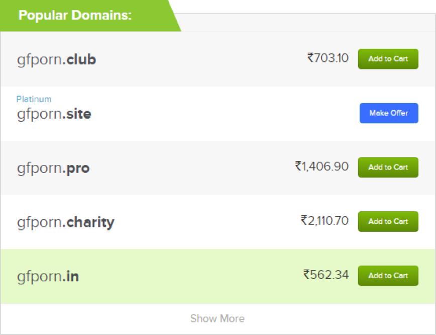 popular adult domains