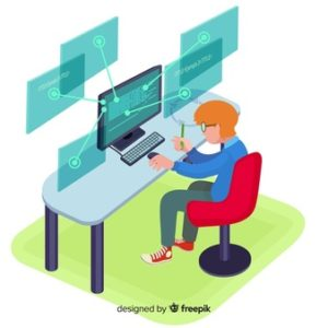 flat-design-vector-man-programmer-working