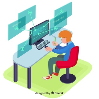 flat-design-vector-man-programmer-working